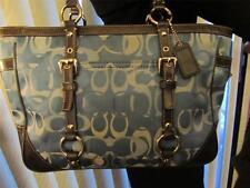 Coach Optic Blue Signature Jacquard Fabric & Leather Tote Handbag -#F13053