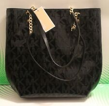 NEW AUTHENTIC MICHAEL KORS BLACK JET SET CHAIN SIGNATURE MIRROR PVC TOTE HANDBAG