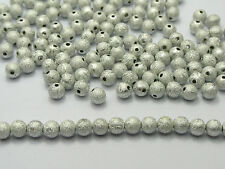 """500 Silver Stardust Acrylic Round Beads 6mm(1/4"""") Spacer Finding"""