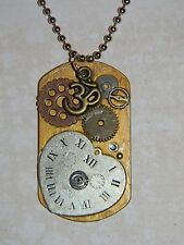 Steampunk Gears Collage Watch Parts Heart Om Charm Dog Tag Necklace D183