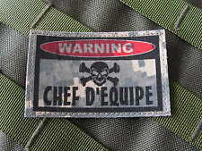 "SNAKE PATCH ..:: WARNING CHEF EQUIPE ::.. AIRSOFT PAINTBALL US "" ACU DIGITAL """