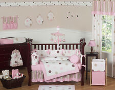 Modern Pink and Brown Polka Dot 9pc Baby Girl Crib Bedding Set Room Collection
