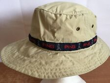 Ping Hat Bucket Golf Cap Fitted Fedora Sun Sz S/M Polyester Beige Logo Casual