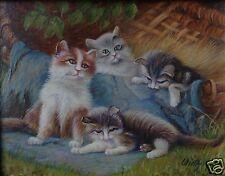 Impressionismus Ölgemälde Mü. Schule 4 junge Kätzchen im Korb Katze Johann Wirth
