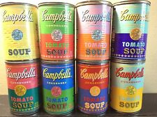 Set of 8 Andy Warhol Tomato Soup Cans 2004 & 2012 Lids Professionally Removed