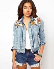 River Island Tapestry Contrast Jean Denim Western Biker Long Sleeve Jacket 10 38