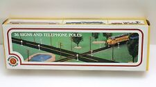BACHMANN HO SCALE TRAIN 36 SIGNS AND TELEPHONE POLE