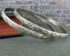 Pair of Vintage Silver Art Deco Patterned Bangle Bracelets