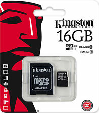 KINGSTON MICRO SD 16GB CLASSE 10 CLASS MICROSD SDHC SCHEDA DI MEMORIA CARD