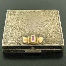 Antique Tiffany & Co. Silver & 14k Gold Blood Ruby Makeup Powder Box Case