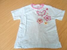 Butterfly girls' pale blue and pink T-shirt, age 3-4 years