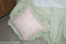 MINT Custom Bed Pillow/Green & White Gingham/Pink Plaid