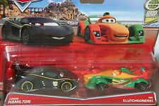 "DISNEY PIXAR CARS ""2-PACK LEWIS HAMILTON / RIP CLUTCHGONESKI"" NEW IN PACKAGE"