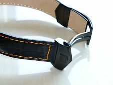 22mm Monaco Band Strap ORANGE STITCHING with PVD Deployment Clasp for Tag Heuer