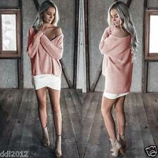 Womens Fashion Off Shoulder Long Sleeve Loose Knitted Sweater Jumper Tops Blouse