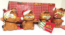 COLLECTOR GARFIELD CERAMIC HANGING CHRISTMAS ORNAMENTS BOX OF 4 NEW ENESCO