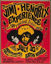 Music Poster Reprint Jimi Hendrix Experience at Independence Hall Baton Rouge
