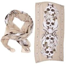 NEW Large Fashion Beige White Black Skull Punk Womens Long Scarf Shawl USA SHIP