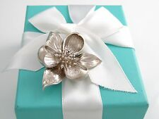 Auth Tiffany & Co Silver Orchid Brooch Box Included