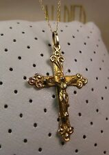 """Antique Beautiful Solid 10K Yellow Gold Cross Crucifix Pendant Necklace 18"""" 2.2g"""