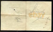 Vintage Sincerely FRANK SINATRA + BUDDY RICH signed paper ca. '40-42 autographs