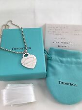 """Tiffany & Co Silver 18"""" bead necklace & LARGE heart tag pendant. WITH RECEIPT"""