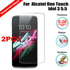 2Pc 9H Premium Tempered Glass Screen Protector For Alcatel One Touch Idol 3 5.5""
