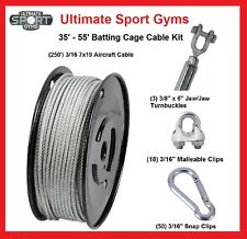 55' Baseball Softball Batting Cage Nets Cable Kit Heavy Duty Indoor Outdoor