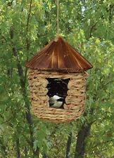 Large Bird house Hanging Grass Twine Roosting House with Roof
