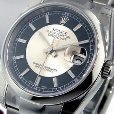UNWORN ROLEX DATEJUST 116200 STEEL 36 mm OYSTER BULLS EYE BLACK SILVER DIAL