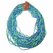 Seed Beads Statement Necklace Large Wooden Clasp Multi Strand Green Blue Wood