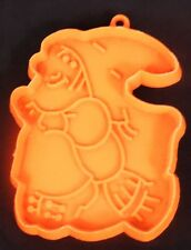 Hallmark Cards Vintage WITCH & BROOM Orange Plastic Cookie Cutter Halloween Fall