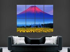 MOUNT FUJI JAPAN SUNFLOWERS FIELD  GIANT WALL POSTER ART PICTURE PRINT LARGE