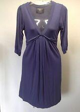 ZARA Basic TShirt Label~ Blue Soft Knit Surplice Tie Back Deep V Neck Dress M