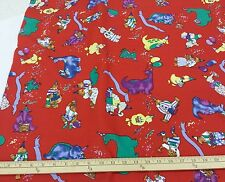 "Alexander Henry 100% Cotton: Animal Birthday Party on Red; 45"" W, 3 yd. Piece"