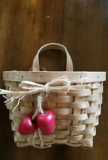 COUNTRY WOOD COLLECTION WICKER BASKET w/ Fabric Liner & Wood Lid