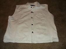 Men's MARITHE FRANCOIS GIRBAUD Sleeveless White Denim Vest Jacket Sz XL