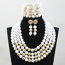 Traditional White 4 layer African Nigerian Beads Party Wedding Jewelry set