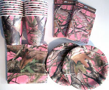PINK HUNTING CAMO Birthday Party Supply Kit Plates,Napkins,Cups,Invites,Balloons