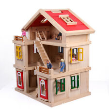 Large real wooden doll house villas three-tier hut made completely from wood NEW