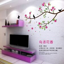 Beautiful Flower Peach blossom Birds Art Wall Stickers Removable Home Decor PVC