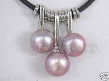 """3PCS Natural Purple Freshwater Pearl And Leather Pendant Necklace 18"""" Adjustable"""
