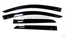 BLACK RAIN VISOR WEATHER GUARDS FOR MITSUBISHI MIRAGE 4 DOOR HATCHBACK 2012-2015