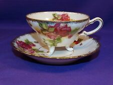 VINTAGE CUP & SAUCER YADA HAND DECORATED CHINA JAPAN PINK & WINE ROSES GOLD TRIM