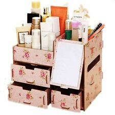 Creative DIY Wooden Decorative Dresser Cosmetic Jewellery Make up Storage Box