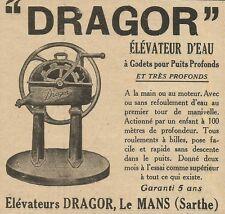 W5263 Elèvateurs DRAGOR - Le Mans - Pubblicità 1929 - Publicitè