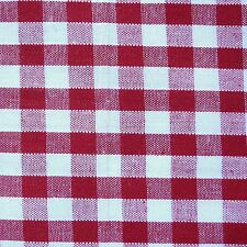 "Red & White LRG 1/4"" Check Gingham Fabric  *Per Metre*"