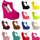 WOMEN'S LADIES  PLATFORM PEEP TOE WEDGES  EXCLUSIVE HIGH HEELS SHOES UK 2 - 9
