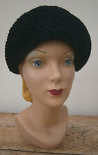 VINTAGE 1950'S/60'S MIDNIGHT BLUE RUCHED CHENILE TURBAN HAT WEDDING GOODWOOD