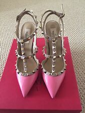 Brand New Valentino Rockstud Patent Leather Pump Pink N41 100MM  T-Strap Size 39